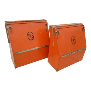 Vintage Western Orange Wood Horse Panniers From a Colorado Ranch - a Pair For Sale
