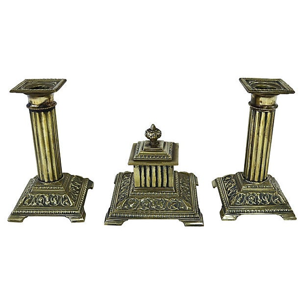 1920s English Brass Corinthian Desk Set - 3 Pieces For Sale - Image 4 of 4