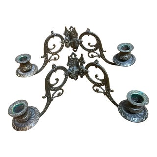 Antique Victorian Wall Mounted Swivel Candle Holders - a Pair For Sale