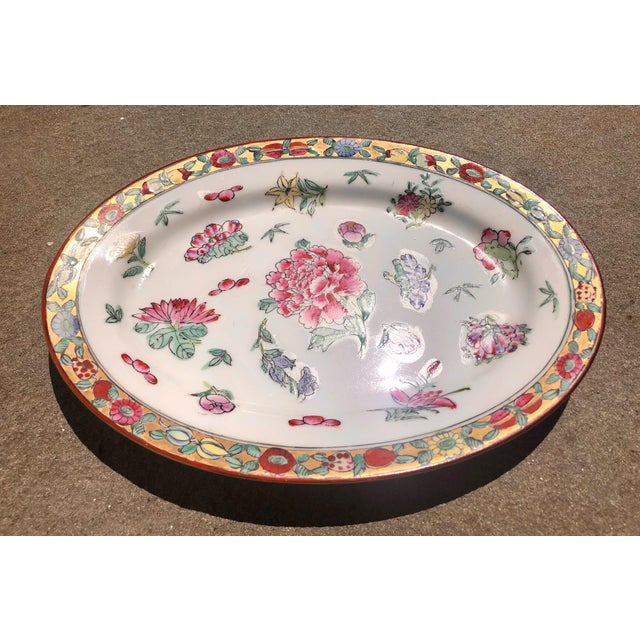 Asian Colorful Floral Gilt Chinoiserie Peony Platter For Sale - Image 3 of 9