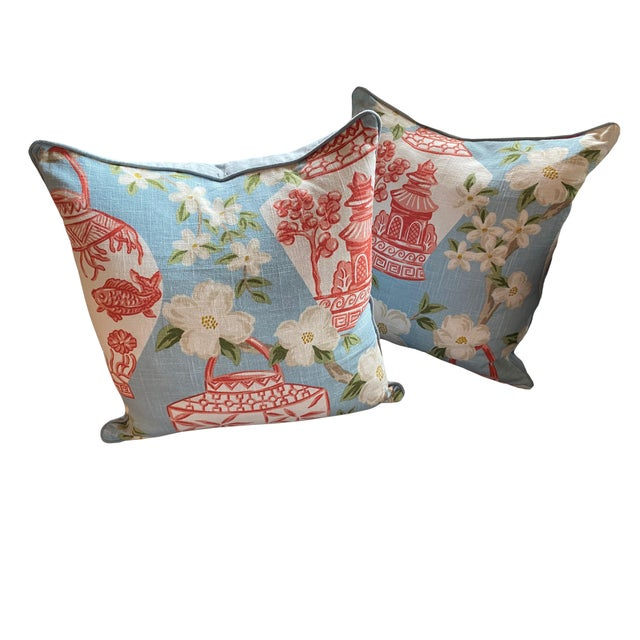 Chinoiserie Custom Chinoiserie Pillow For Sale - Image 3 of 4