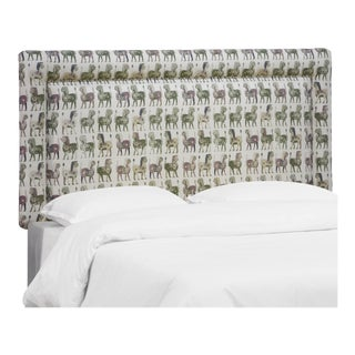 Lion Block Dark Green Oga Headboard, King For Sale