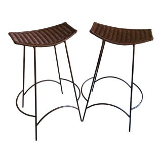 1960s Vintage Arthur Umanoff Bar Stools Metal Frame Wicker Seats- A Pair For Sale