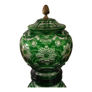 Antique Green Overlay Crystal Box W Bronze Finial For Sale