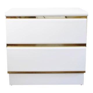 Vintage White & Gold Mirrored Nightstand