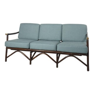 Ficks Reed Bamboo and Brass Sofa For Sale