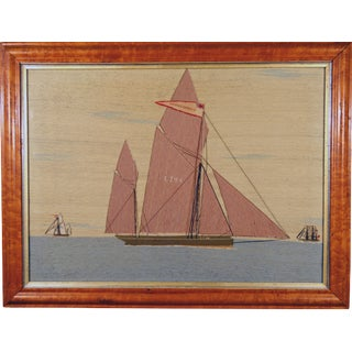 "Sailor's Woolwork or Woolie Picture of a Lowestoft Lugger, ""The Young James"", Circa 1875"