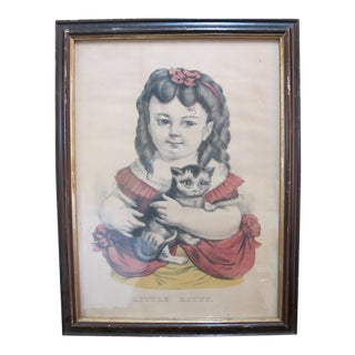 Currier & Ives Antique Hand Colored Print Little Kitty Child Girl Cat Portrait For Sale