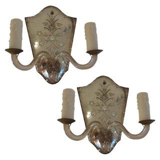 Vintage Maison Jansen Style Venetian Etched Mirrored Sconces - a Pair For Sale