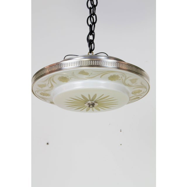 1940s Hollywood Regency Flush Mount Fixtures - A Pair For Sale - Image 5 of 9