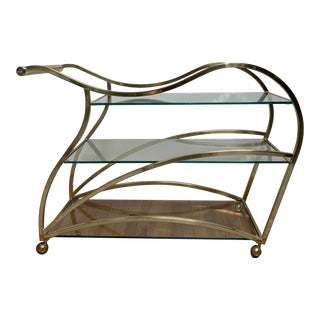 Dia Design Institute America Brass and Glass Oversized Bar Cart Milo Baughman Attrib. For Sale