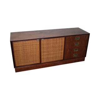 Mid-Century Modern Walnut Cane Door Credenza withDrawers For Sale