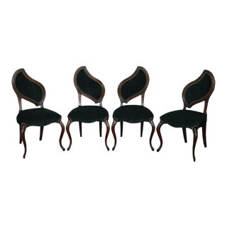 Hollywood Regency Leaf Back Chairs - Set of 4