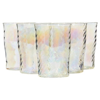 1950s Iridescent Glass Tumblers, Set of 5 For Sale