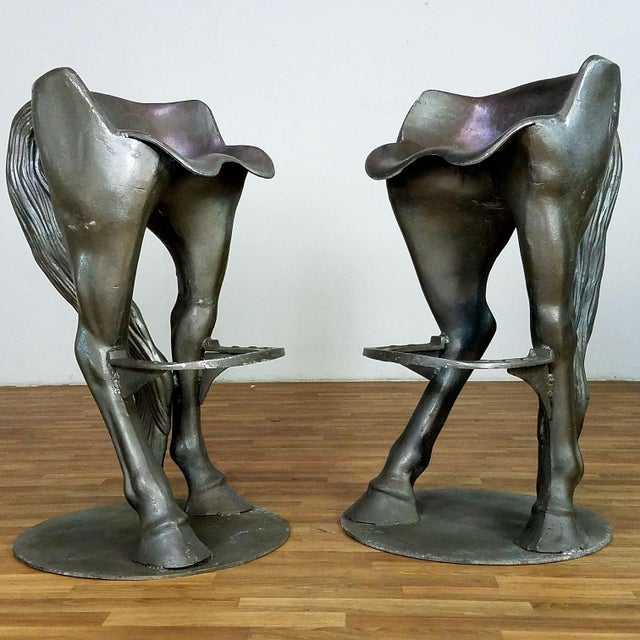 1990s Vintage Horse Bar Stools - A Pair For Sale - Image 10 of 13