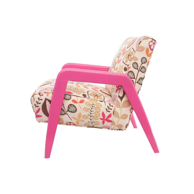 Atomic Chair in Pink Floral Pattern For Sale - Image 4 of 6