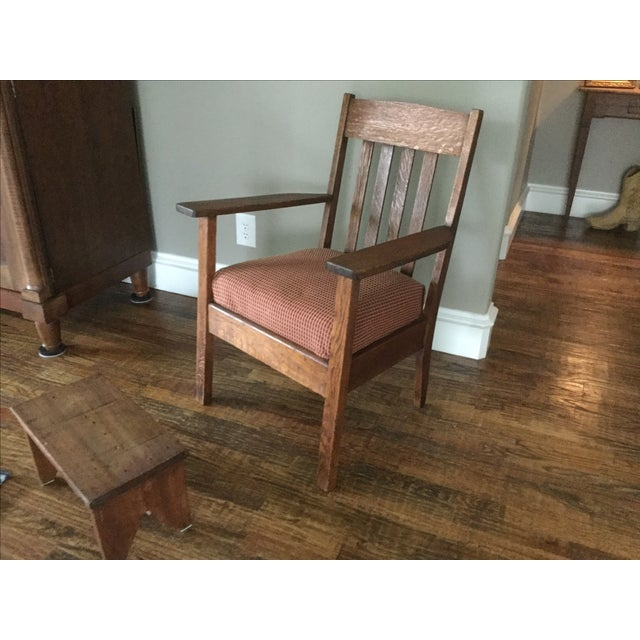 Mission Oak Chair & Walnut Footstool - Image 3 of 4