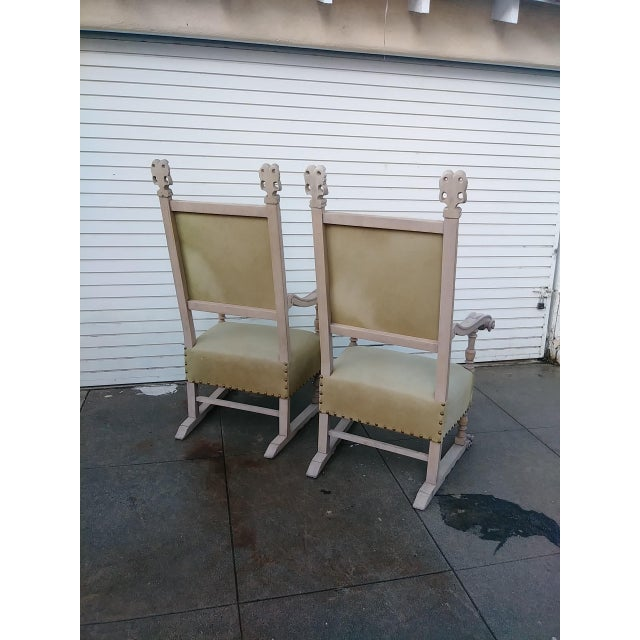 This chairs are from the 1920s. They are Spanish style and made with wood and pony skin hair. This chairs are in perfect...