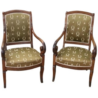 19th Century French Empire Walnut Pair of Armchairs With Volute Arms For Sale