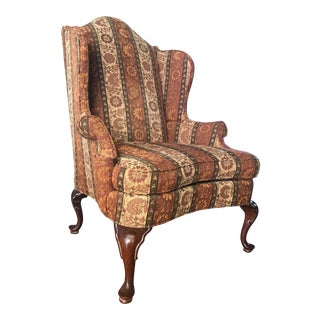 Modern Southwood Mahogany Queen Anne Wing Chair For Sale