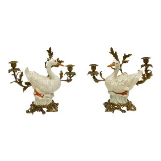 Vintage Bronze Swan Candelabras-Pair For Sale