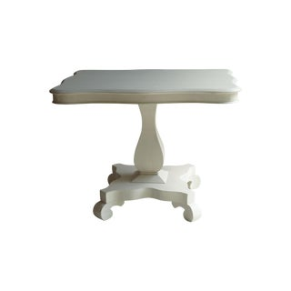 Antique Strie Painted Empire White Side Table For Sale