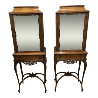 Antique Display Curio Cabinet - a Pair For Sale