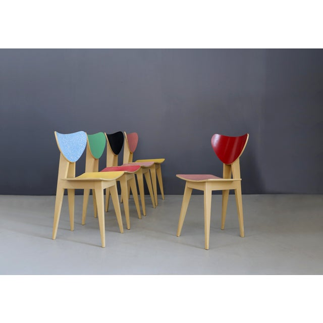 Black Set of Chair MidCentury Attributed to Gianni Vigorelli in Wood and Formica, 1950 For Sale - Image 8 of 8