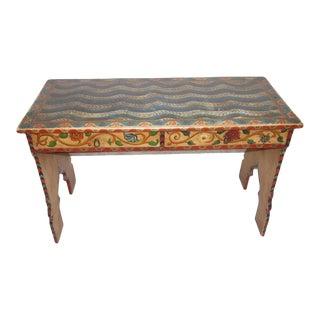 1900s Folk Art Painted Swiss Writing Desk For Sale