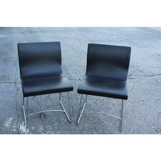 Late 20th Century 20th Century French Leather Side Chairs - a Pair For Sale - Image 5 of 5