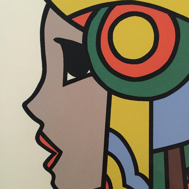 """1970s 1977 Graphic Silkscreen Signed Yamada """"Girl With Headdress"""" For Sale - Image 5 of 8"""