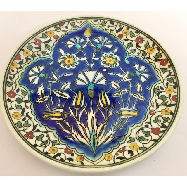 Moorish Floral Design Polychrome Hand Painted Ceramic Decorative Plate For Sale - Image 10 of 10