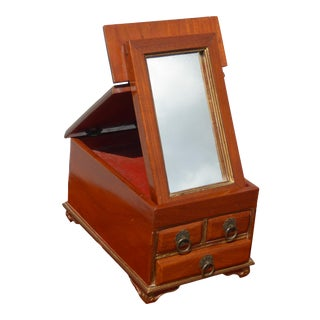 Antique Late 19th Century Jewelry Box W Fold Up Mirror ~ French Country For Sale