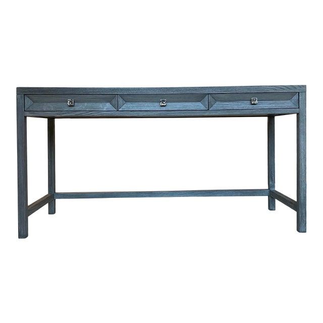 Transitional Gray Wooden Writing Desk For Sale