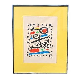 Bright Bold Colorful Abstract Lithograph Print in Blue Green Red and Yellow by Joan Miró For Sale