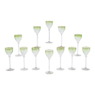 Set of 12 Moser Intaglio Cut Art Nouveau Green Shaded to Clear Wine Goblets For Sale