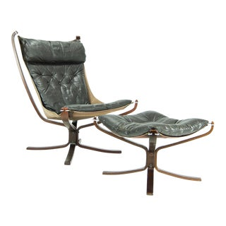 1970s Danish Modern Sigurd Ressell Falcon Lounge Chair and Ottoman - 2 Pieces
