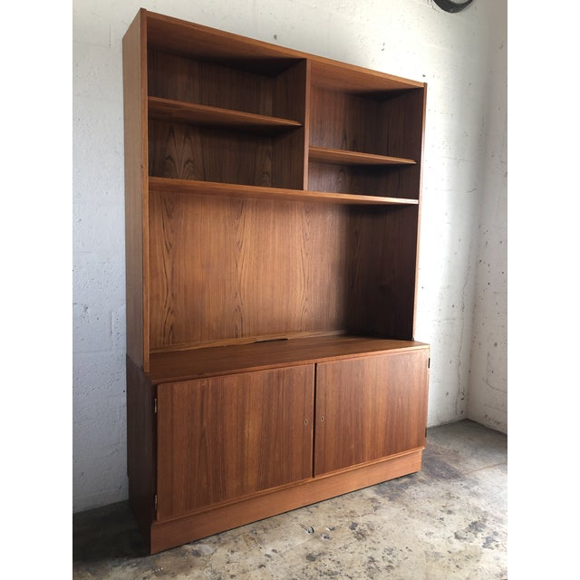 Poul Hundevad Vintage Mid Century Danish Modern Filing Cabinet With Hutch by Poul Hundevand For Sale - Image 4 of 13
