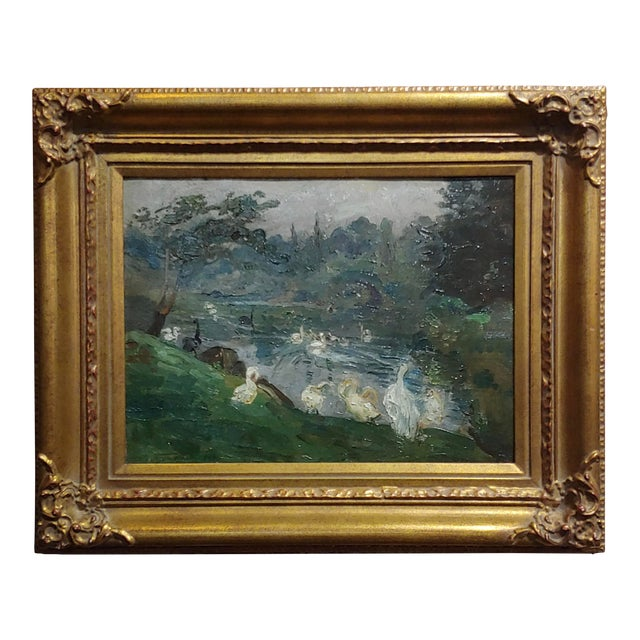 "Antonio Barone ""Duck Pond"" Signed Impressionist Oil Painting C.1910 For Sale"