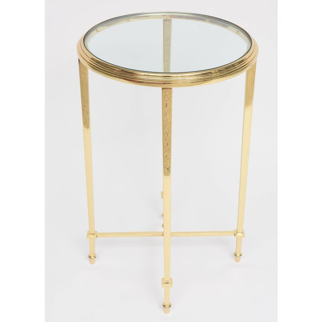 1960s Neoclassical Revival Round Brass Side Table For Sale - Image 9 of 10