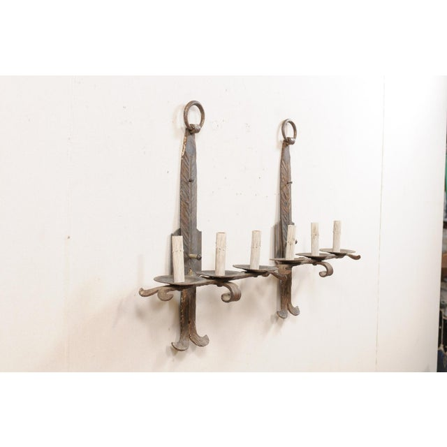 French Mid-Century Three-Light Iron Sconces - a Pair For Sale - Image 4 of 12