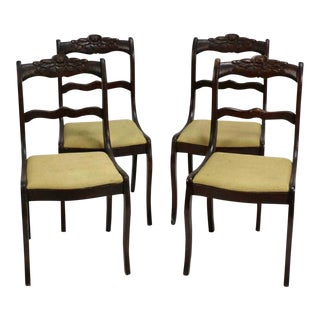 Late 19th Century American Hand-Carved Rose Dining Chairs - Set of 4 For Sale