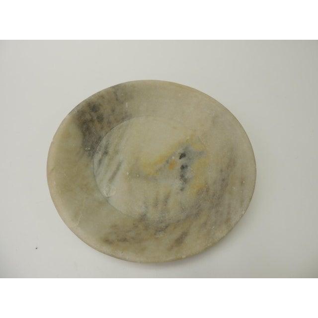 1970s Vintage Asian Hand Carved Alabaster Round Decorative Serving Bowl For Sale - Image 5 of 5