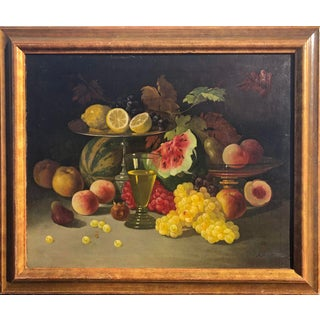 Late 19th Century Still Life With Fruit Oil Painting on Canvas For Sale
