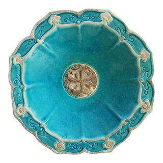 Vintage Italian Turquoise Plate For Sale