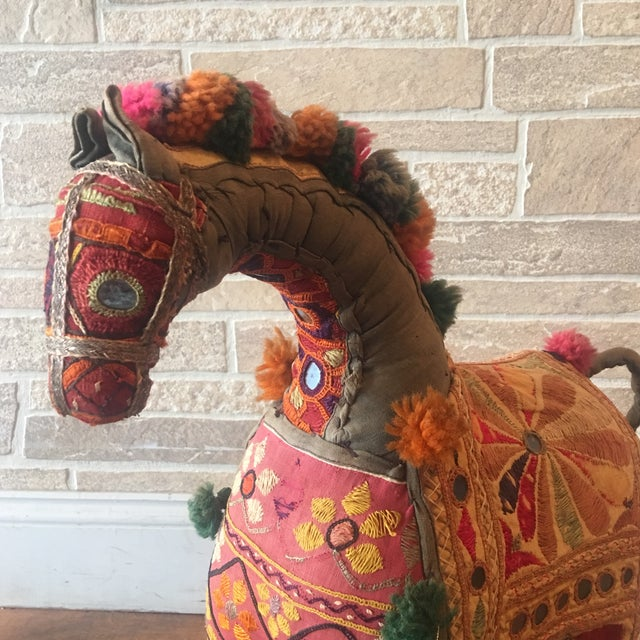 Vintage Rajasthan Hand Embroidered Indian Horse For Sale - Image 4 of 11