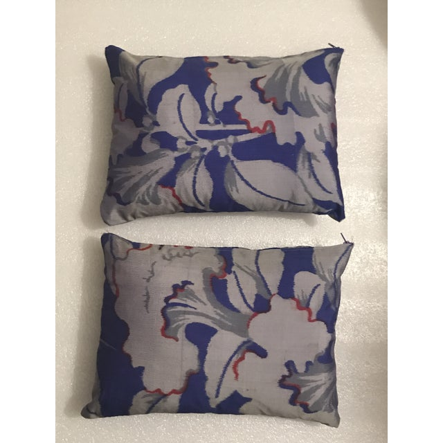 2010s Silk Ikat Pillows - A Pair For Sale - Image 5 of 5