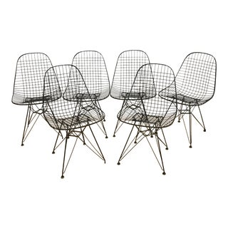 Early Eames Herman Miller Wire Dkr Chairs With Eiffel Bases - Set of 6 For Sale