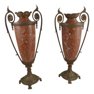 Amphora Urns Red Rouge Marble and Gilt Bronze Ormolu, 20th Century - A Pair