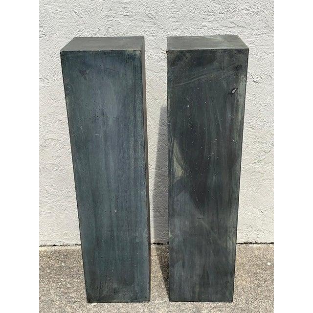 Pair of Industrial Verdigris Lead Columns For Sale In Atlanta - Image 6 of 9